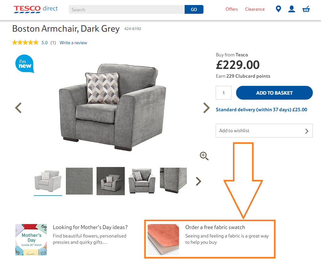 Tesco Product Page - Swatch Ordering